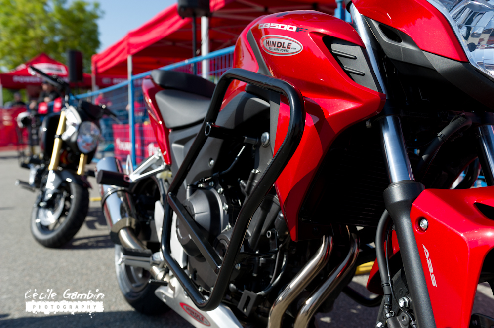 Honda's CB500F and the 125 Grom were used for the events. Riders could choose between one of the two categories (CBF or Grom) for the competition.