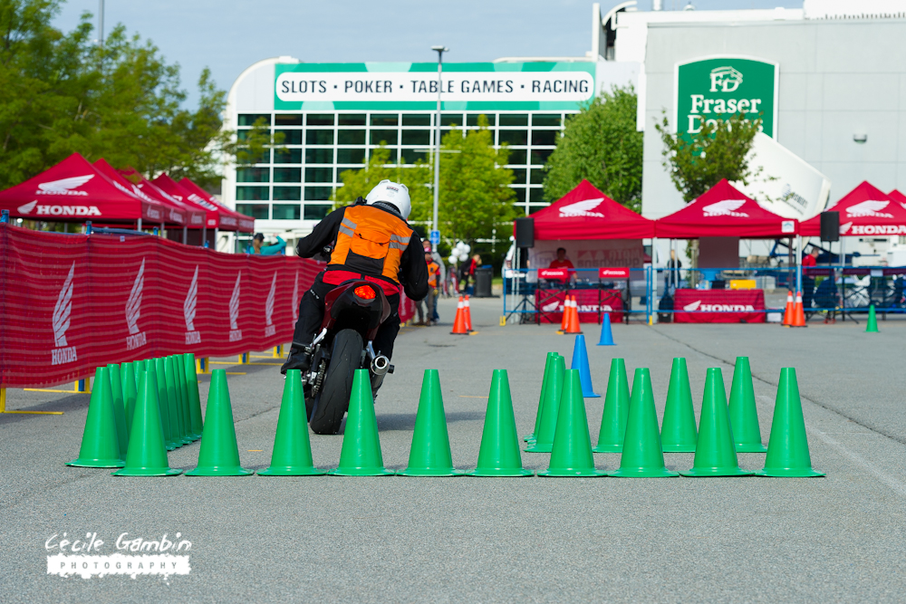 Yoshi checking the course layout and warming up the tires before the event begins.