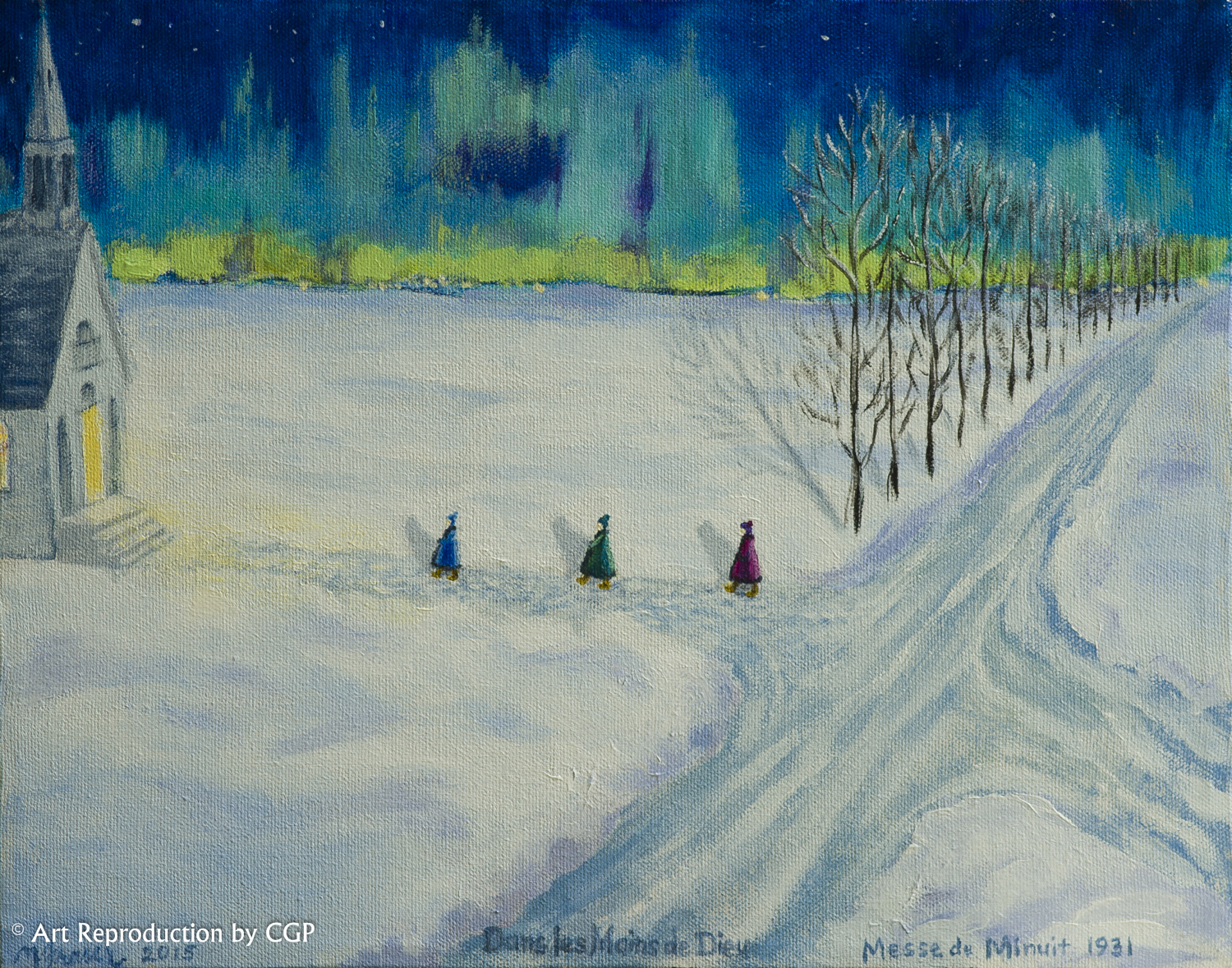 Artist: Nicole Fraser Armstrong Title: Dans les Mains de Dieu Medium: Acrylic on canvas. This image evokes a strong emotion. It reminds me of a typical cold winter Quebec scene but in reality is from Manitoba. It's a familiar scene that gives me a sense of peace. Plus, I love the different shades of blues.