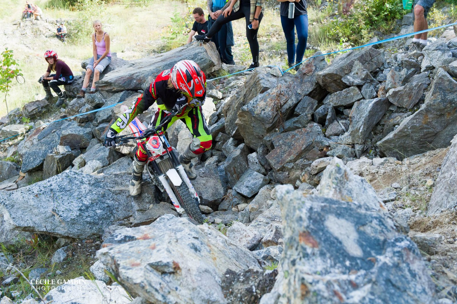 Sam King of Australia, Beta Canada, in a very difficult rocky section of the course.